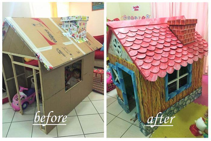 a321efcd63a5 Παππούς έφτιαξε με χαρτόνια ένα φανταστικό σπίτι στην εγγονή του ...